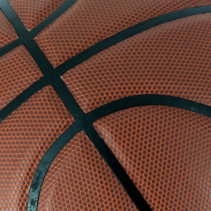 Ballon de basket B500 taille 6 marron. Cuir synthétique. - 1284420