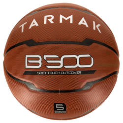 B500 Kids' Size 5 Basketball - Brown. Synthetic leather. Up to age 10.
