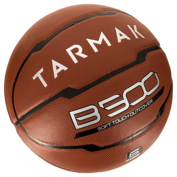 Ballon de basket B500 taille 6 marron. Cuir synthétique. - 1284432