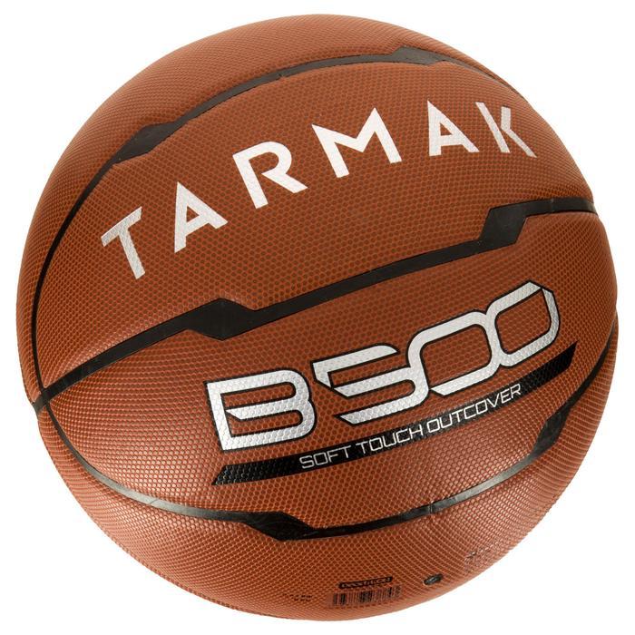 Ballon de basket homme B500 taille 7 marron. Cuir synthétique.