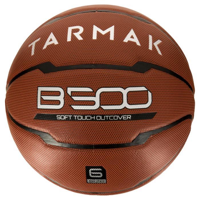 Ballon de basket B500 taille 6 marron. Cuir synthétique. - 1284445