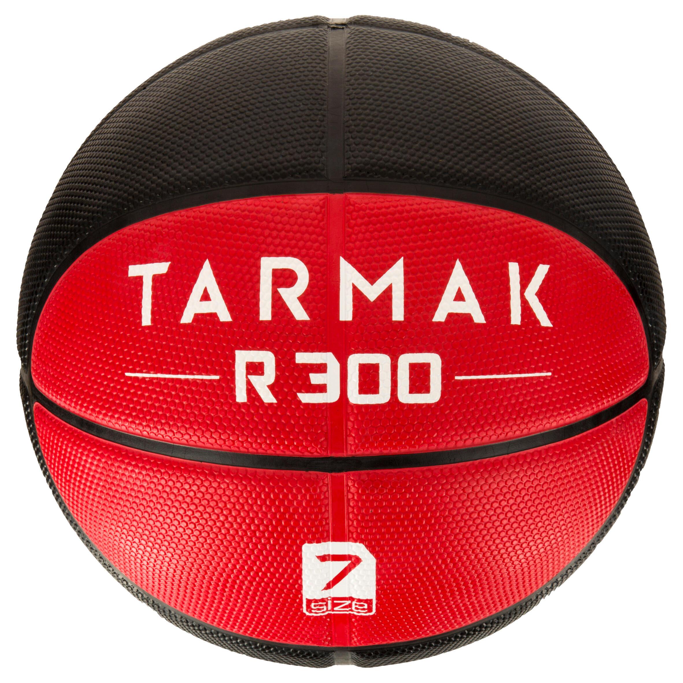 Tarmak Basketbal heren R300 maat 7 rood-zwart. Slijtvast. Vanaf 12 jaar.