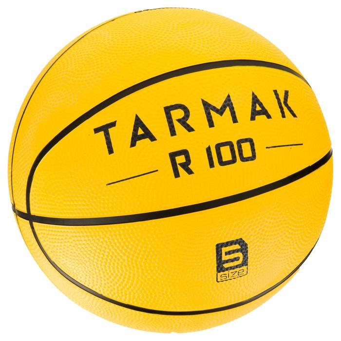 Balón de baloncesto para iniciación, niños y adulto R100 de talla 5 y 7 amarillo