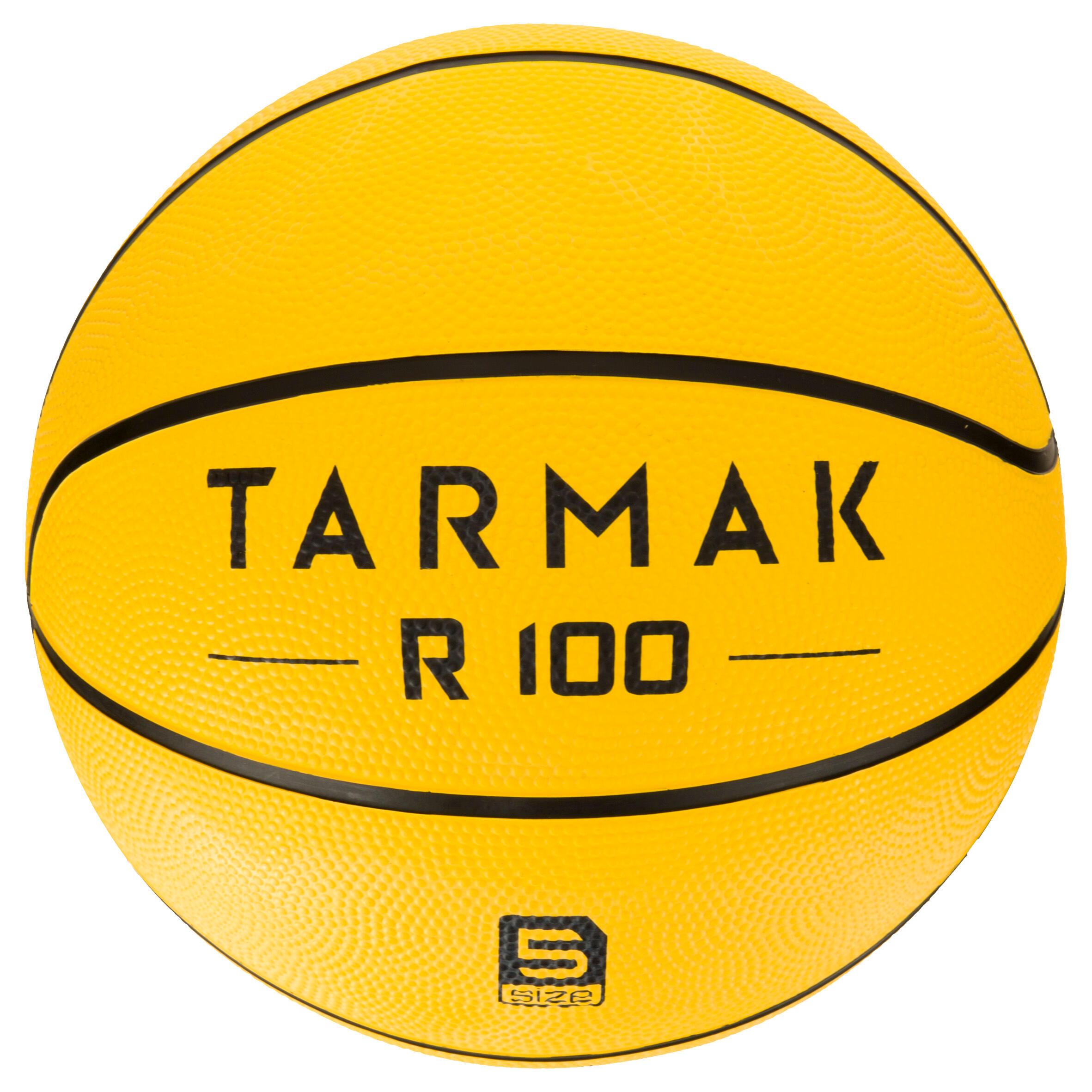 Tarmak Basketbal R100 maat 5 voor kinderen geel. Slijtvast. Voor beginners.