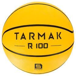 Basketbal R100 voor beginners, kinderen en volwassenen, maat 5 en 7 geel.