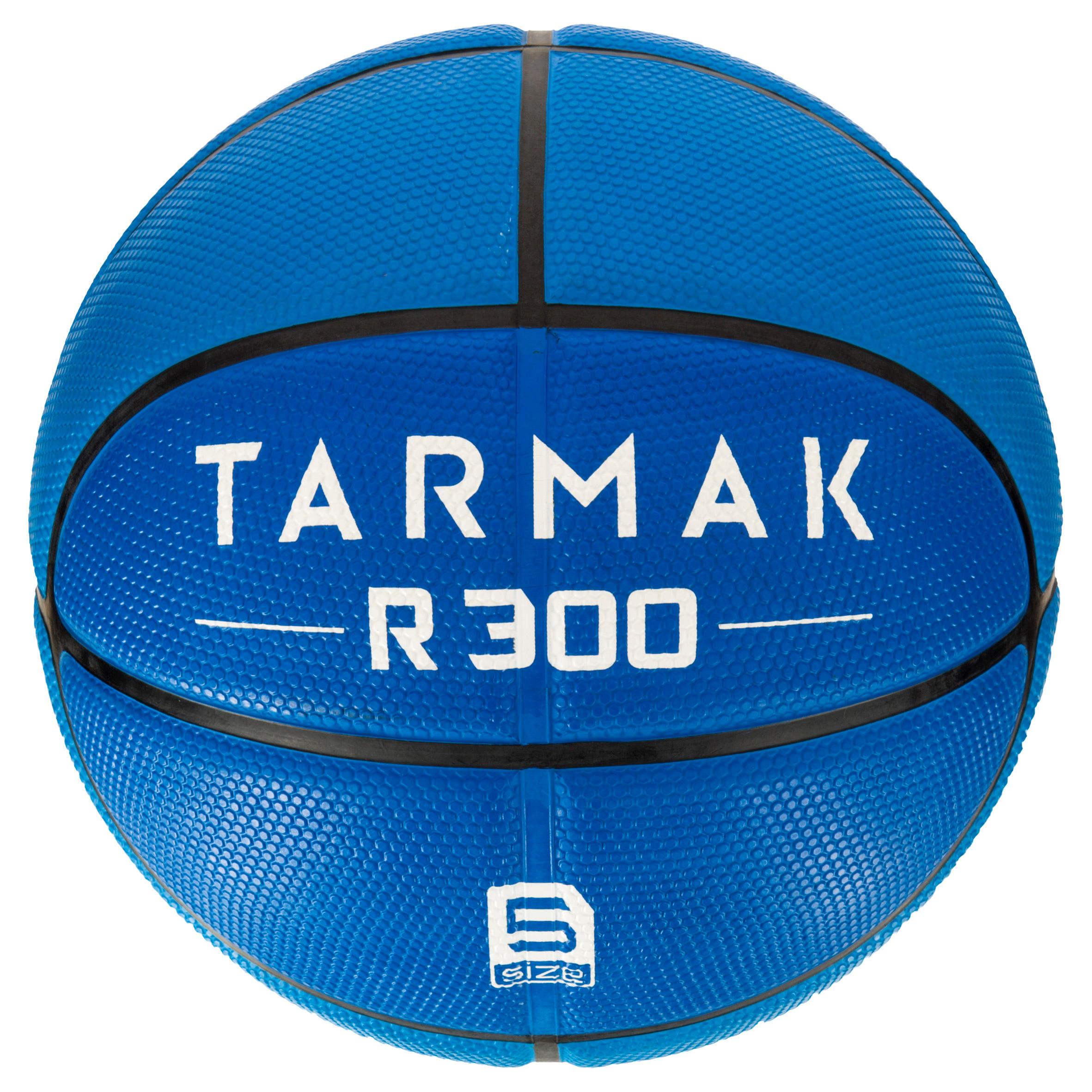 Ballon de basket enfant R300 taille 5 bleu. Résistant.