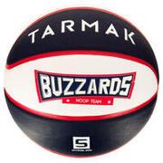 Balón de básquetbol para niños Wizzy Buzzard azul blanco talla 5. Hasta 10 años.