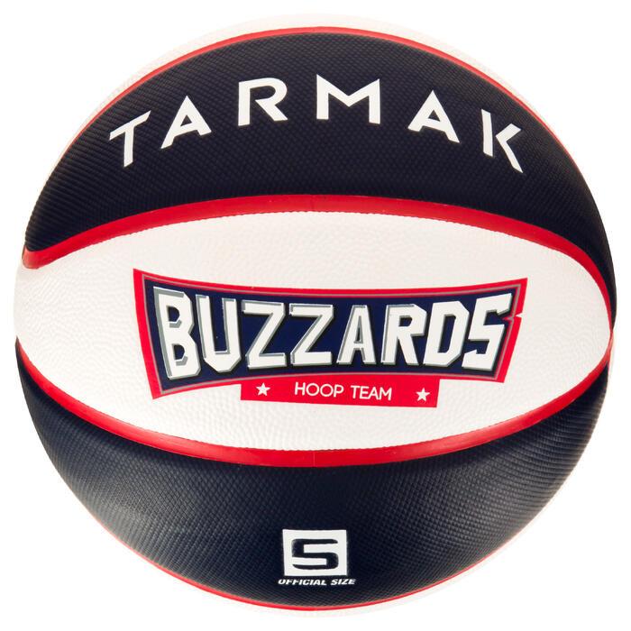 Basketbal voor kinderen Wizzy maat 5 blauw wit.