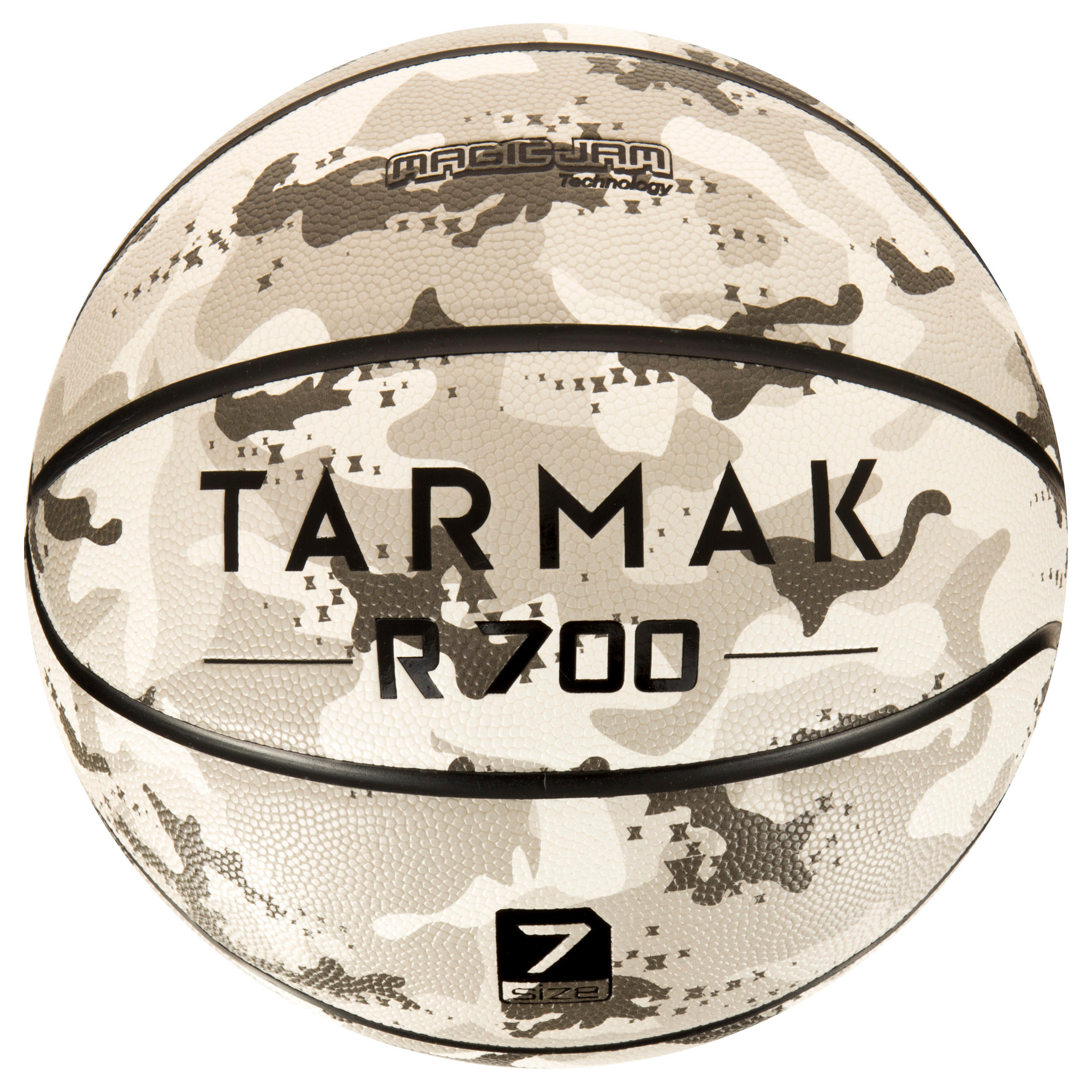 Ballon de basket adulte R700 taille 7 camo gris. Super grip