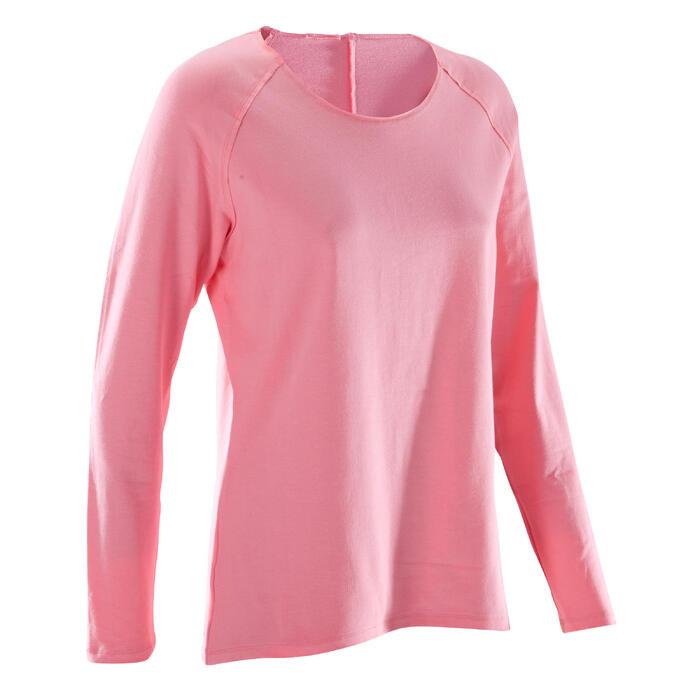 Yogashirt 100 met lange mouwen voor dames ECO koraal - 1285204