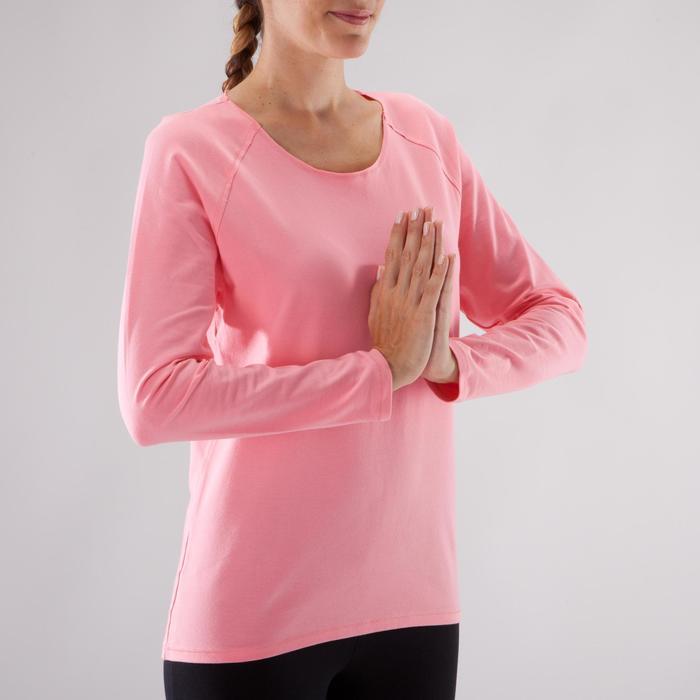 Yogashirt 100 met lange mouwen voor dames ECO koraal - 1285208
