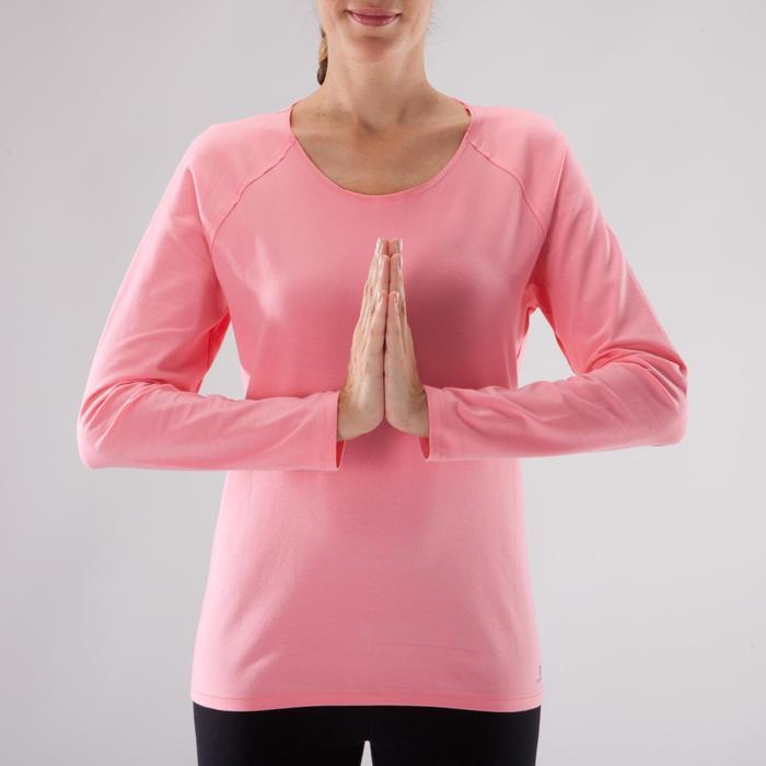 Yogashirt 100 met lange mouwen voor dames ECO koraal - 1285209