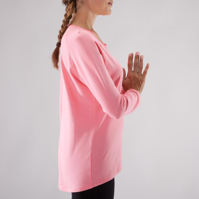 Yogashirt 100 met lange mouwen voor dames ECO koraal - 1285210