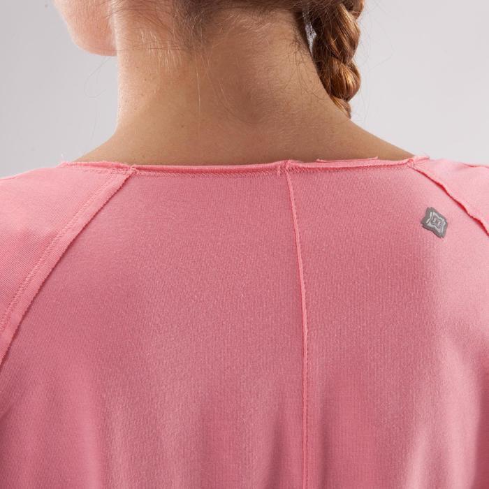 Yogashirt 100 met lange mouwen voor dames ECO koraal - 1285212
