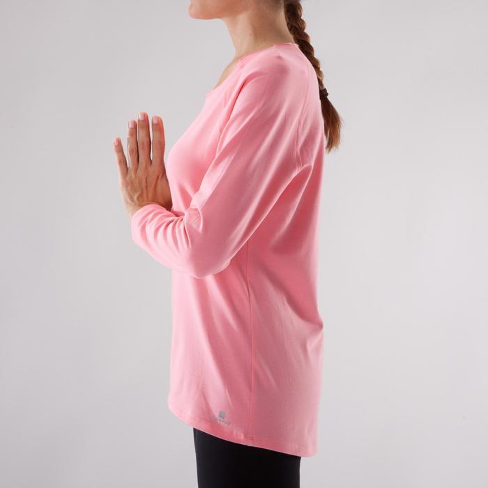 Yogashirt 100 met lange mouwen voor dames ECO koraal - 1285213