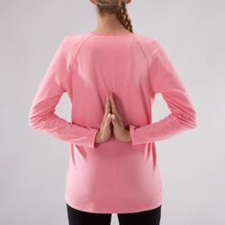 Yogashirt 100 met lange mouwen voor dames ECO koraal