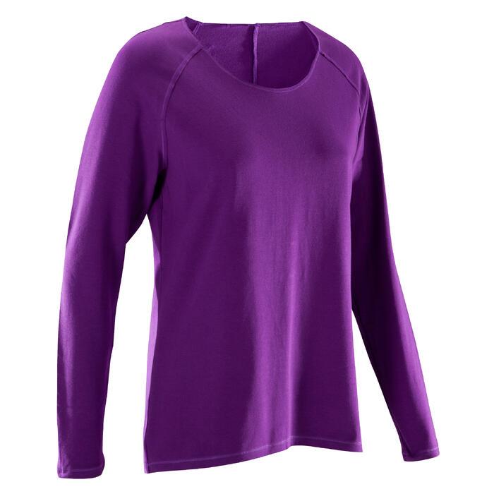 Yogashirt 100 met lange mouwen voor dames ECO paars - 1285218