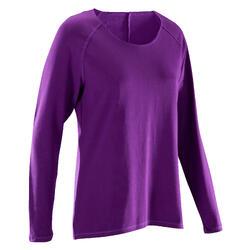 Yoga T-shirt met lange mouwen in biokatoen voor dames