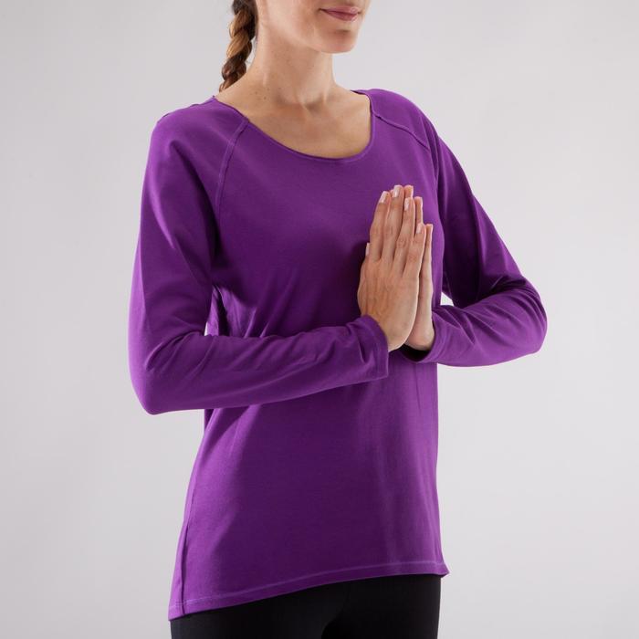 Yogashirt 100 met lange mouwen voor dames ECO paars - 1285219