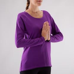 Yogashirt 100 met lange mouwen voor dames ECO paars