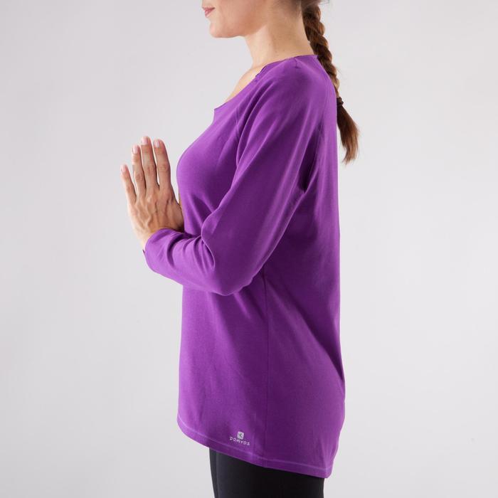 Yogashirt 100 met lange mouwen voor dames ECO paars - 1285220