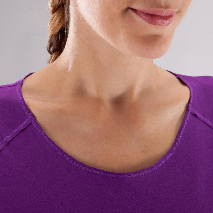 Yogashirt 100 met lange mouwen voor dames ECO paars - 1285223