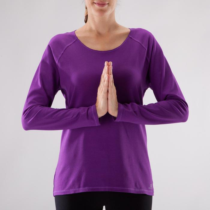 Yogashirt 100 met lange mouwen voor dames ECO paars - 1285225