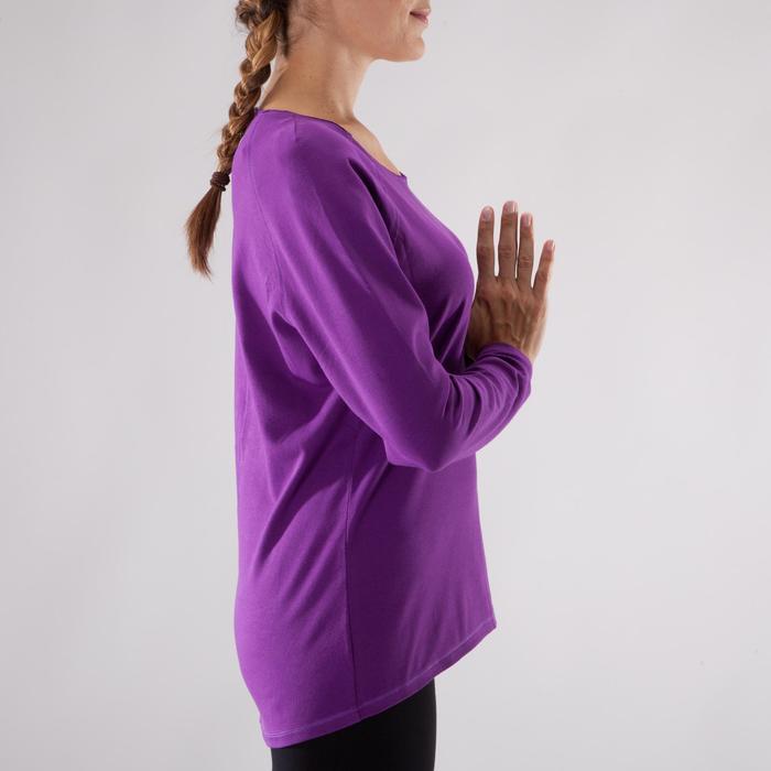 Yogashirt 100 met lange mouwen voor dames ECO paars - 1285226