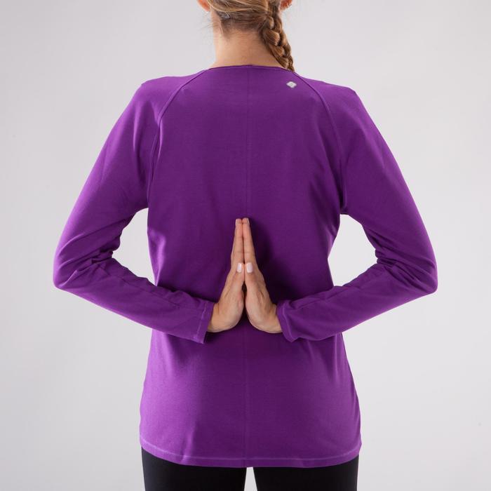 Yogashirt 100 met lange mouwen voor dames ECO paars - 1285227