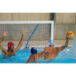 Bademantel 500 Wasserball Baumwolle mit Gürtel Taschen Kapuze Herren dunkelblau