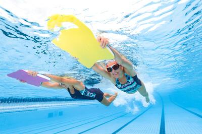 Maillot de bain de natation femme une pièce Vega skirt Kal bleu