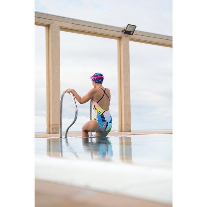 Bañador de natación una pieza para mujer Riana Pop Azul Blanco