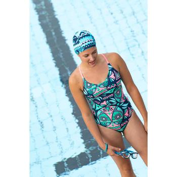 女款單件式低衩泳裝Riana - 貓頭鷹圖案/綠色