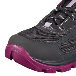 女款防水登山健行鞋MH 500-黑色/紫色