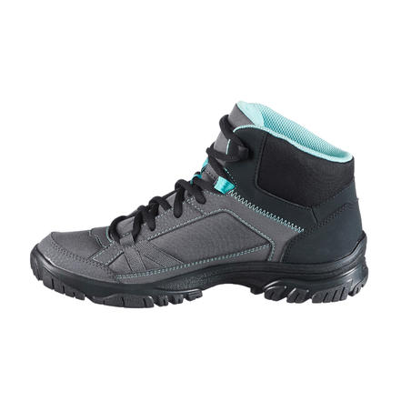 Women's NH100 Country Walking Mid-height Shoes - Grey-Blue