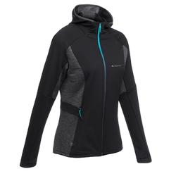 女性刷毛健行運動外套 FH500 Helium - 黑色