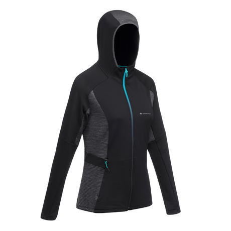 super populaire 5a109 b5d88 Veste Polaire de randonnée rapide Femme FH500 Helium Noir