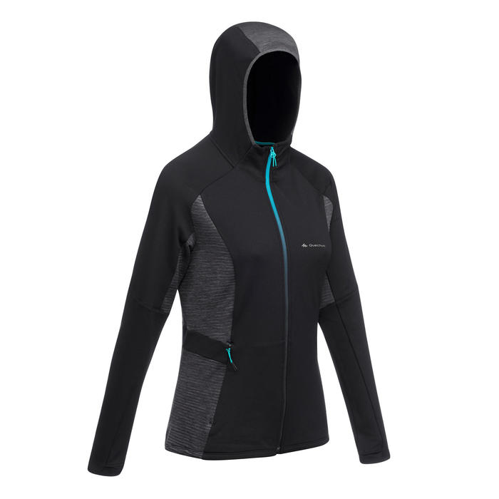 Fleece damesvest voor fast hiking FH500 Helium zwart