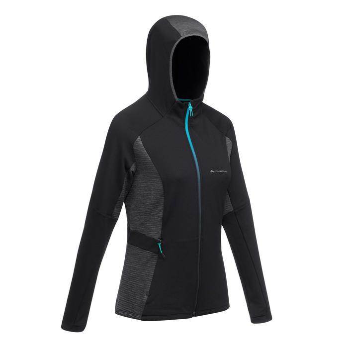 Veste Polaire de randonnée rapide Femme FH500 Helium Noir