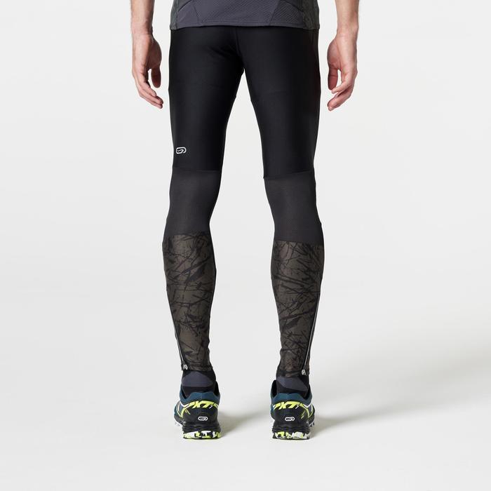 Laufhose lang Tights Trail Herren Running schwarz/grau mit Muster