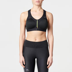ZIPPER RUNNING SPORTS BRA BLACK