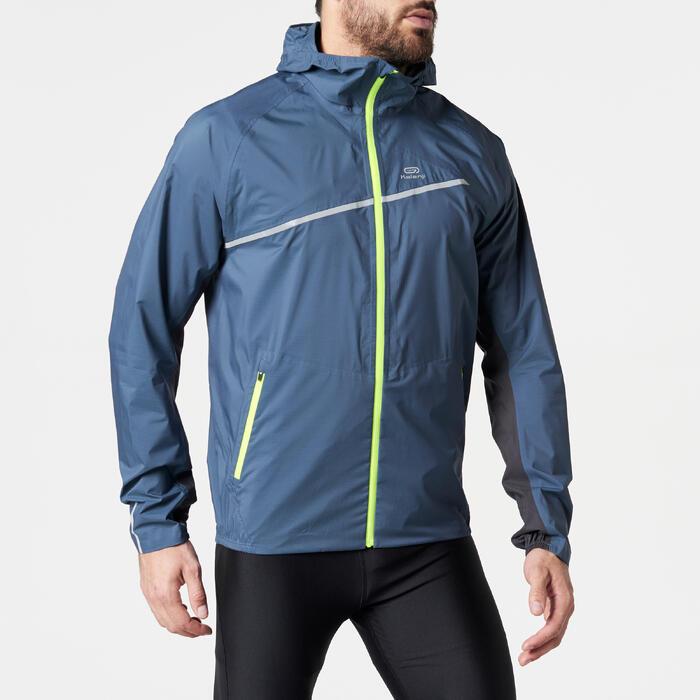 Chaqueta impermeable trail running hombre azul gris tormenta