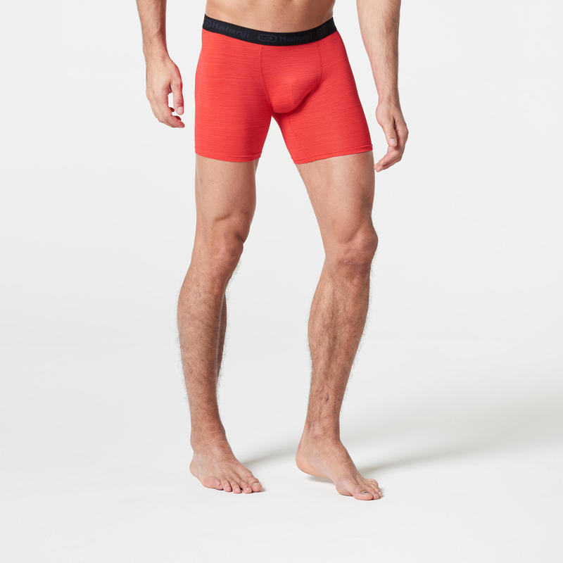 Men's Breathable Running Boxers - Mottled Red