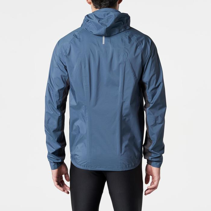 Lauf-Regenjacke Trail Herren blau/gelb