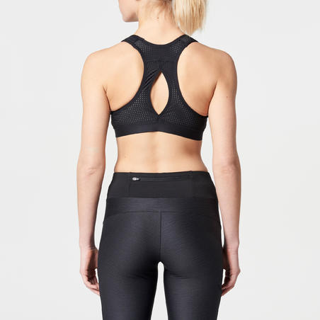 EASY ZIP RUNNING SPORTS BRA BLACK
