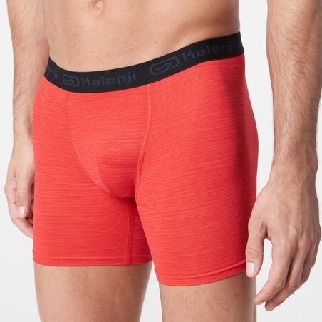 MEN'S BREATHABLE RUNNING BOXERS - MOTTLED RED
