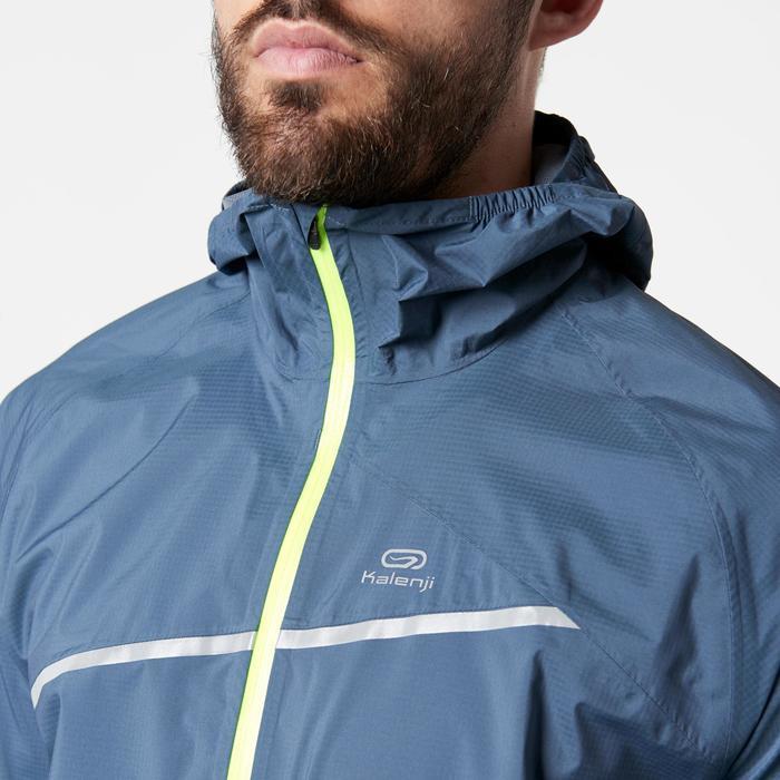 Veste imperméable trail running bleu gris tempête homme