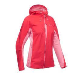 Dames regenjack voor fast hiking FH500 Helium Rain rood