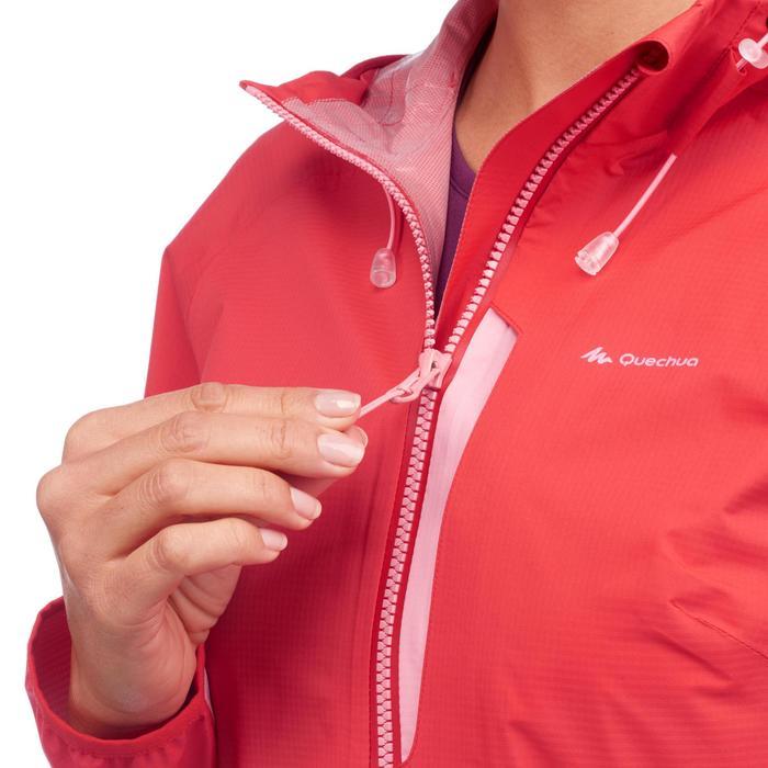 Veste imperméable de randonnée rapide Femme FH500 Helium Rain Rouge - 1285867