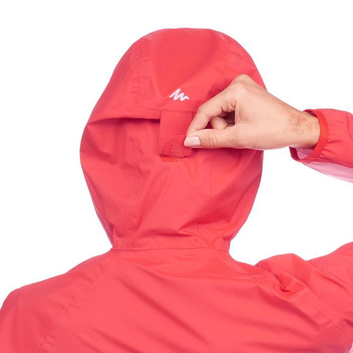 Chaqueta impermeable de senderismo rápido Mujer FH500 Helium Rain Rojo